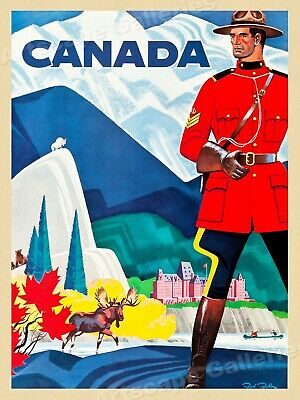Canada RCMP Vintage 1960s Travel Poster - 24x32