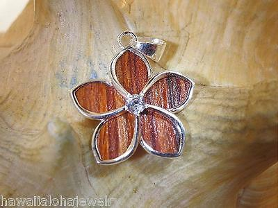 20mm 925 Silver Inserted Borneo Rosewood Hawaiian Plumeria Flower CZ Pendant