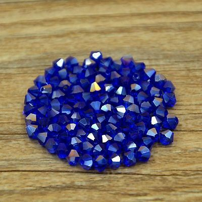 Swarovski 5301# 4 mm Bicone Crystal beads 100 Pieces Dark blue AB