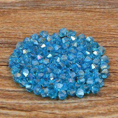 Swarovski 5301# 4 mm Bicone Crystal beads 100 Pieces Sky blue AB