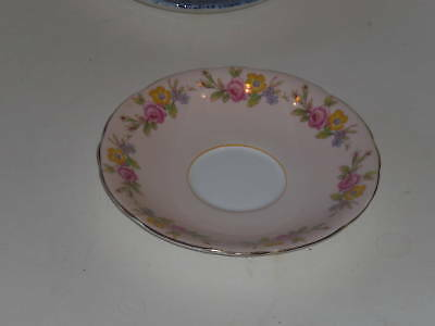 AYNSLEY PALE PINK SAUCER ONLY YELLOW PINK BLUE FLOWERS
