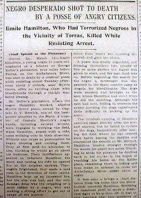 1906 newspaper Negro Man Lynched by White mob near TORRAS Louisiana