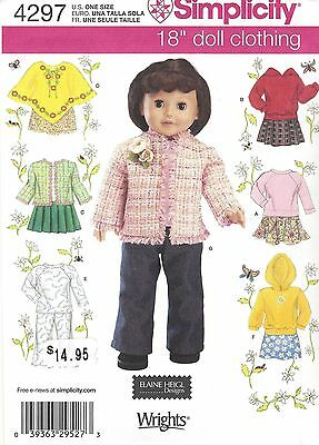 """18"""" Girl DOLL Clothes Hoodie Poncho Simplicity 4297 American Sewing Pattern"""
