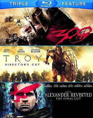 """New """" 300 & Troy & Alexander Revisited """" Blu-Rays 3 Disc, Case and Artwork"""
