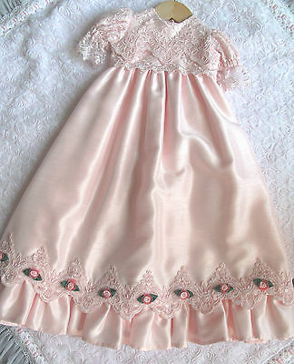 Pink Shantung  Long Gown Dress For Reborn Baby
