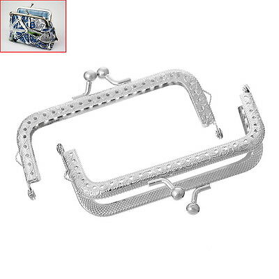 5PCs Metal Purse Bag Frame Kiss Clasp Arch Silver Tone 10.7cm x 5.8cm