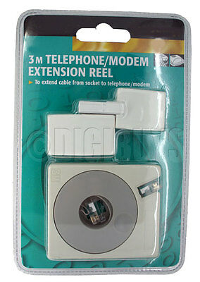 RJ11 to Broadband Modem Telephone Fax Extension Cable Reel 3M Meters UK