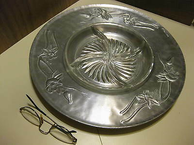 "Everlast Forged Aluminum 14.25"" Relish Platter # 1145 With Glass Inset"