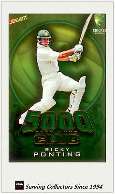 2009-10 Select Cricket Trading Cards 5000 TEST RUNS TR1 Ricky Ponting