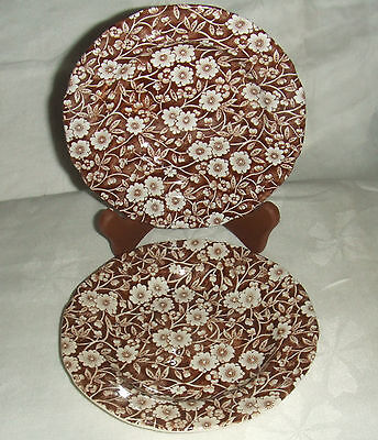 """2 CROWNFORD CHINA BURLEIGH STAFFORDSHIRE BROWN CALICO BREAD & BUTTER PLATES 6"""""""