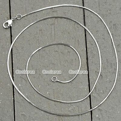 Fashion 1.2mm White Gold Plated Snake Link Necklace Womens Mens Chain 18-24 inch