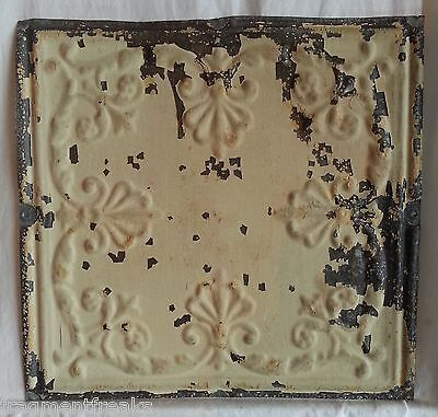 "12"" Antique Tin Ceiling Tile  Original Egg Shell Sg10"