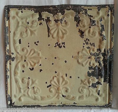 "12"" Antique Tin Ceiling Tile *SEE OUR SALVAGE VIDEOS* Original Egg Shell Sg10"
