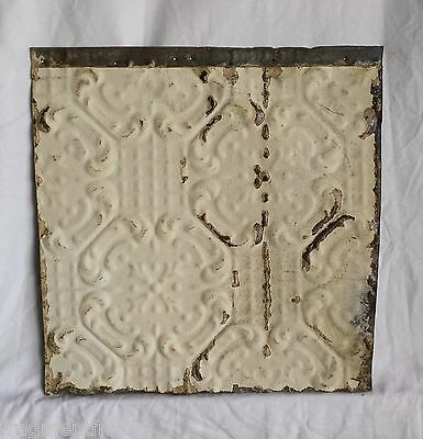 """12"""" x 12.5"""" Antique Tin Ceiling Tiles *SEE OUR SALVAGE VIDEOS* Cream Pz3"""