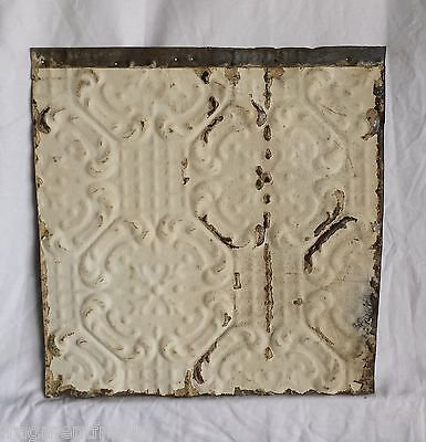 "12"" x 12.5"" Antique Tin Ceiling Tiles  Cream Pz3"