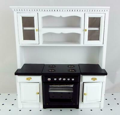 Melody Jane Dolls House Miniature Fitted Kitchen Black & White Oven Cupboards
