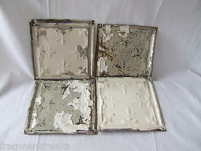 "4 6"" x 6""  Antique Tin Ceiling Tiles *SEE OUR SALVAGE VIDEOS* BB6 White Green"