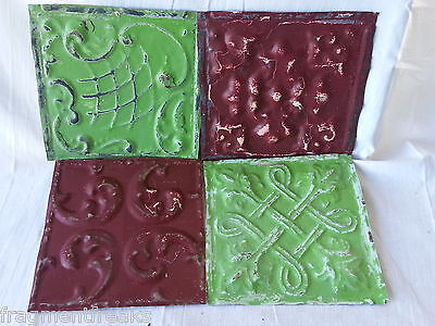 "4 6"" x 6""  Antique Tin Ceiling Tiles  HH23 Green Purple"