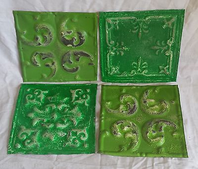 """4 6"""" x 6""""  Antique Tin Ceiling Tiles *SEE OUR SALVAGE VIDEOS* By7 Greens"""