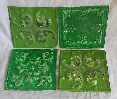 "4 6"" x 6""  Antique Tin Ceiling Tiles *SEE OUR SALVAGE VIDEOS* By7 Greens"