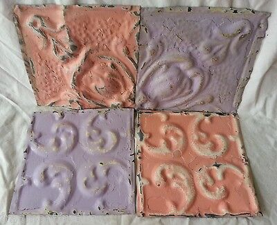 "4 6"" x 6""  Antique Tin Ceiling Tiles  JJ41 Lavender Pink"