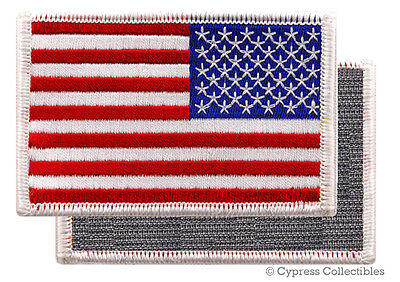 AMERICAN FLAG EMBROIDERED PATCH WHITE BORDER USA LEFT w/ VELCRO® Brand Fastener