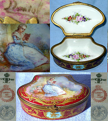 SEVRES CHATEAU DES TUILERIES PILL BOX HAND PAINTED SIGNED 1840 LOUIS PHILIPPE