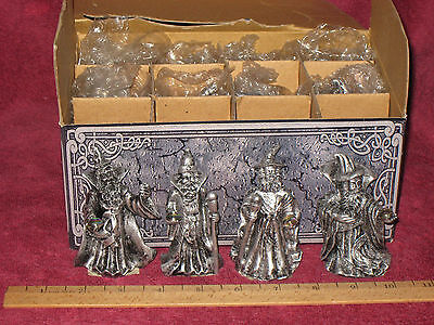 FANTASY 12 SILVER WIZARD FIGURINES LOT (four different figures) - NEW IN BOX!