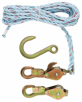 "Klein Tools 1802-30 Block & Tackle w/ 25' x 3/8"" Nylon Rope & Forged Hook"