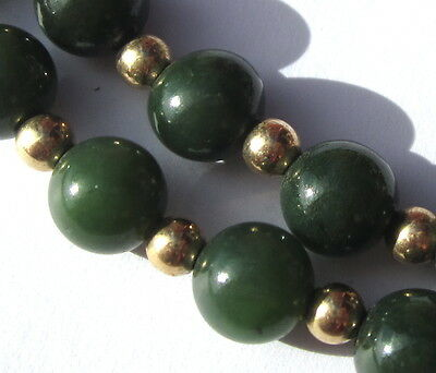 """19 1/2"""" Necklace Of Beautiful Odl Small Jade Vintage Stone Beads"""
