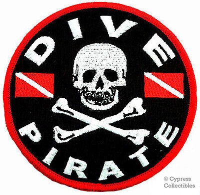 DIVE PIRATE iron-on PATCH SCUBA DIVING skull crossbones EMBROIDERED JOLLY ROGER