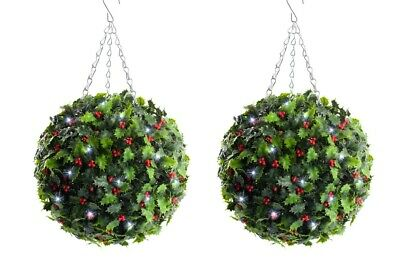 2 Best Artificial Pre-Lit 30cm Christmas Holly Topiary Balls White LED Lights