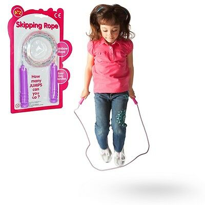 Pink Rainbow Skipping Rope Girls Toy Gift Outdoor Xmas Christmas Stocking Filler