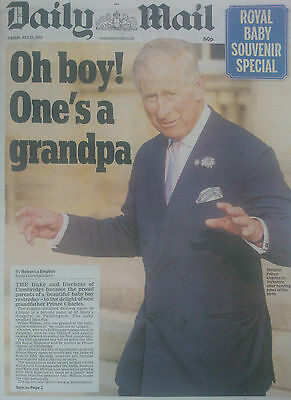 BABY PRINCE GEORGE.WILLIAM & KATE.THE MAIL SOUVENIR UK NEWSPAPER.JULY 23 NEW