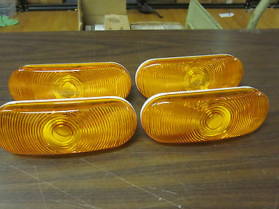 """4 ~ Amber 6.5"""" Oval Sealed Light Stop Tail Turn Signal Rv Trailer Truck Parking"""