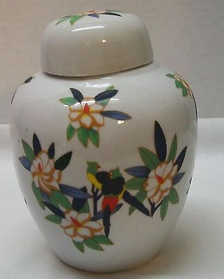 Vintage Ginger Jar with Red Green Blue Yellow Birds and Flowers