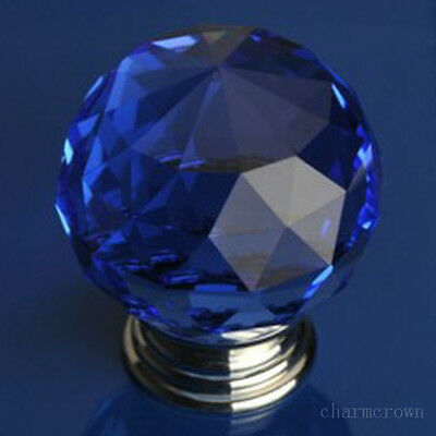 Blue Crystal Glass Door Knob Drawer Pull Cabinet Cupboard Handle Wardrobe 30mm