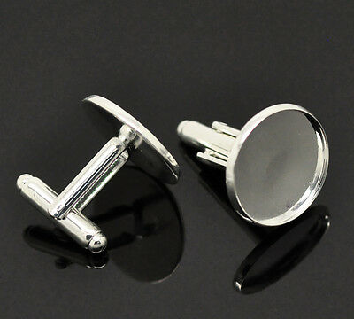 25 HQ Pairs Silver Plated Cabochon Setting Cuff Links 26x20mm(Fit 18mm)