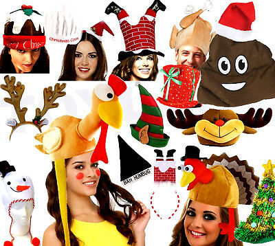 Novelty Christmas Hats Xmas Office Party Festive Work Fancy Dress Santa Elf Poo