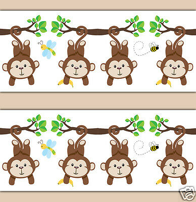 Mod Monkey Wallpaper Border Decals Boy Kids Room Wall Art Jungle Animal Decor