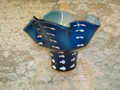 Mid Century Blue Cased Hand Made Art Glass Vase Modern Design