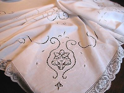 Antique/Vintage BANQUET-SIZED WHITE Cotton EMBROIDERED LACE CUTWORK Tablecloth