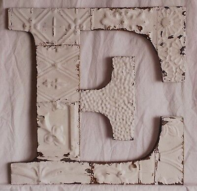 "Large Antique Tin Ceiling Wrapped 16"" Letter 'E' Patchwork Metal Mosaic White"