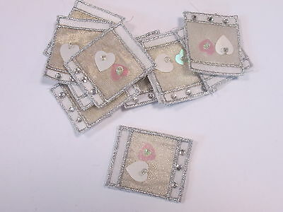 Set of 10 Homemade Card Embroidered Gold Love Heart Bead Motifs Patches #21D236