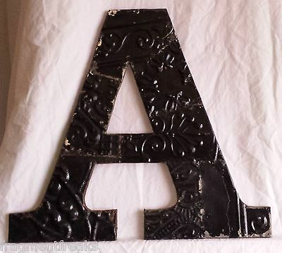 "Large Antique Tin Ceiling Wrapped 16"" Letter 'A' Patchwork Metal Mosaic Black"