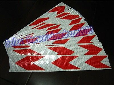 """New Red White Arrows Reflective Warning Conspicuity Tape Film Sticker 2""""X10' 3M"""