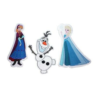 Set of 3 Elsa Anna And Olaf Frozen Characters Disney Film Iron On Applique Patch