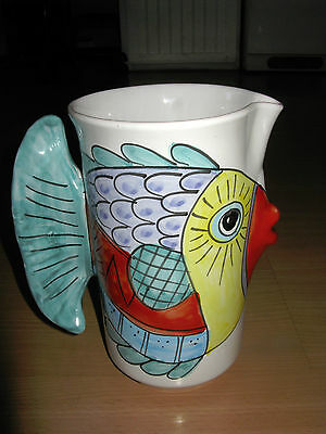 """Desuir Vietri Hand Painted Pottery Kiss Fish 8 1/2"""" Pitcher Made In Italy"""