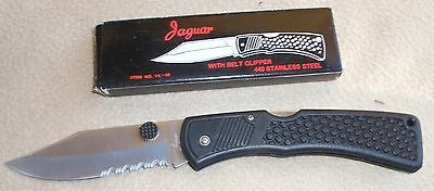 """""""JAGUAR"""" 9"""" Partially Serrated Folding Stainless Steel Knife FREE S/H!!"""