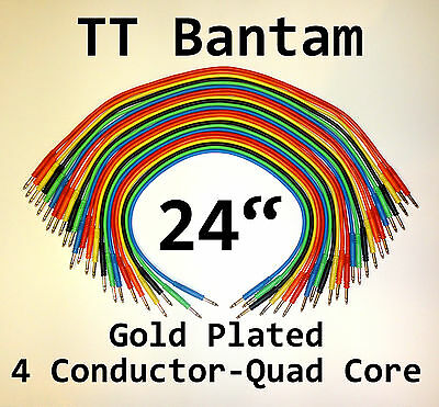 """24 New Gold TT Bantam 24"""" Quad Core Patch Cables Cords 2 Foot Leads 4 Conductor"""